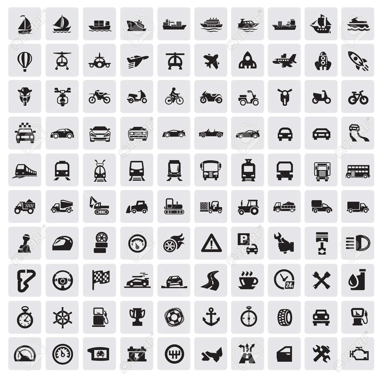big transportation icons Stock Vector - 15963359