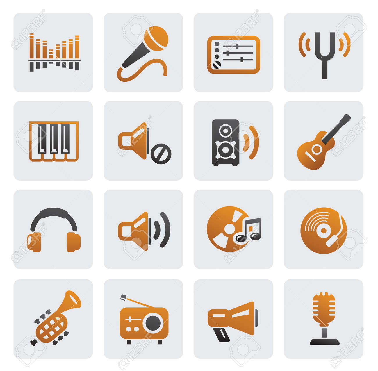 music icons Stock Vector - 16250234