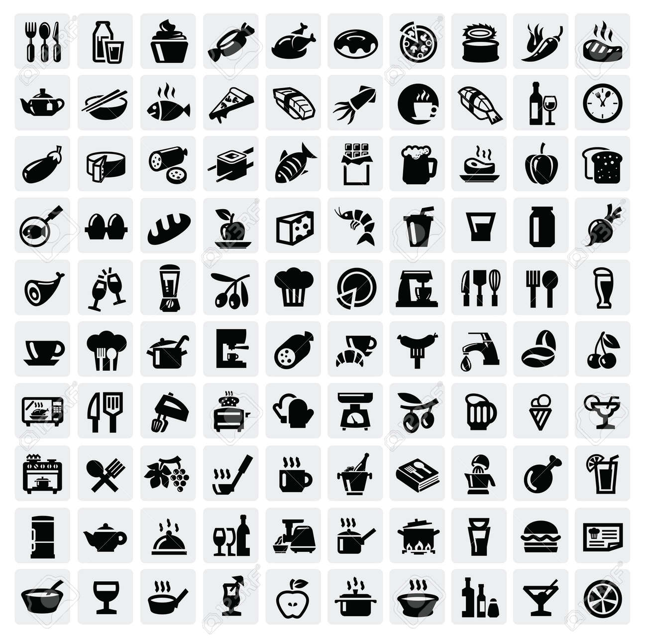 food icons set Stock Vector - 16757664