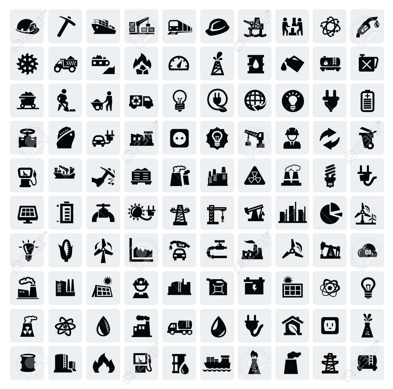industry icons set Stock Vector - 16757663