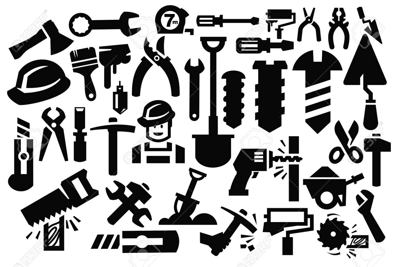 """Man with tool pictogram and signs"""" Stock image and royalty-free ..."""