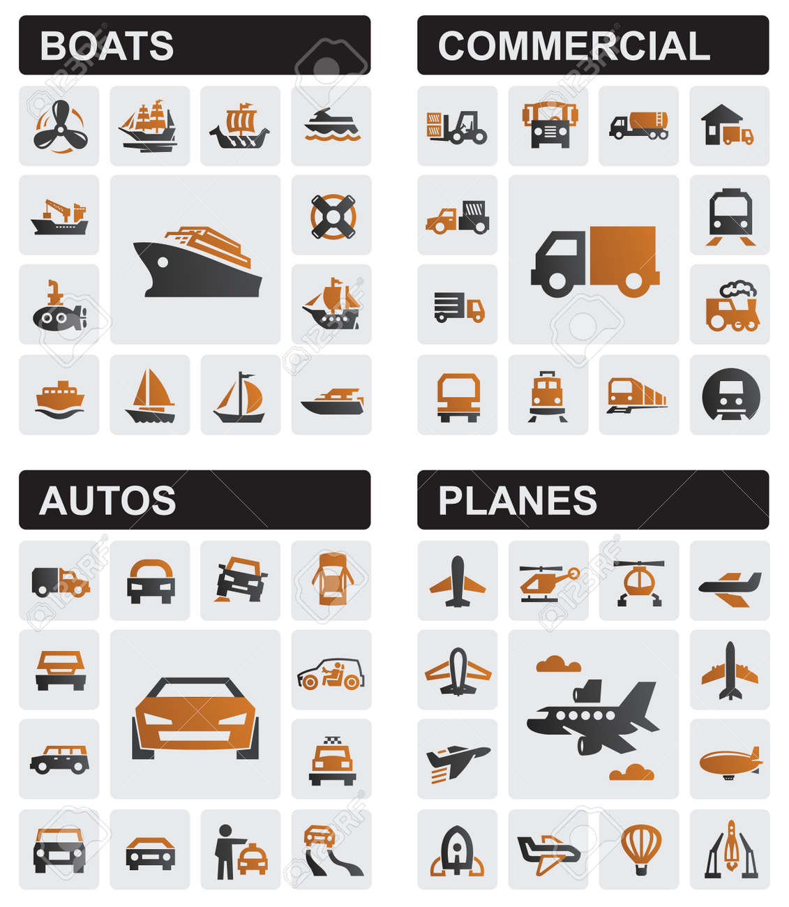 transport icons Stock Vector - 17012221