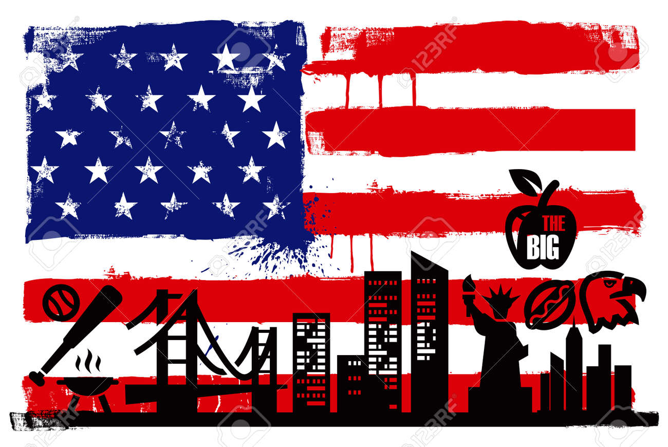 USA flag and silhouettes Stock Vector - 17208532