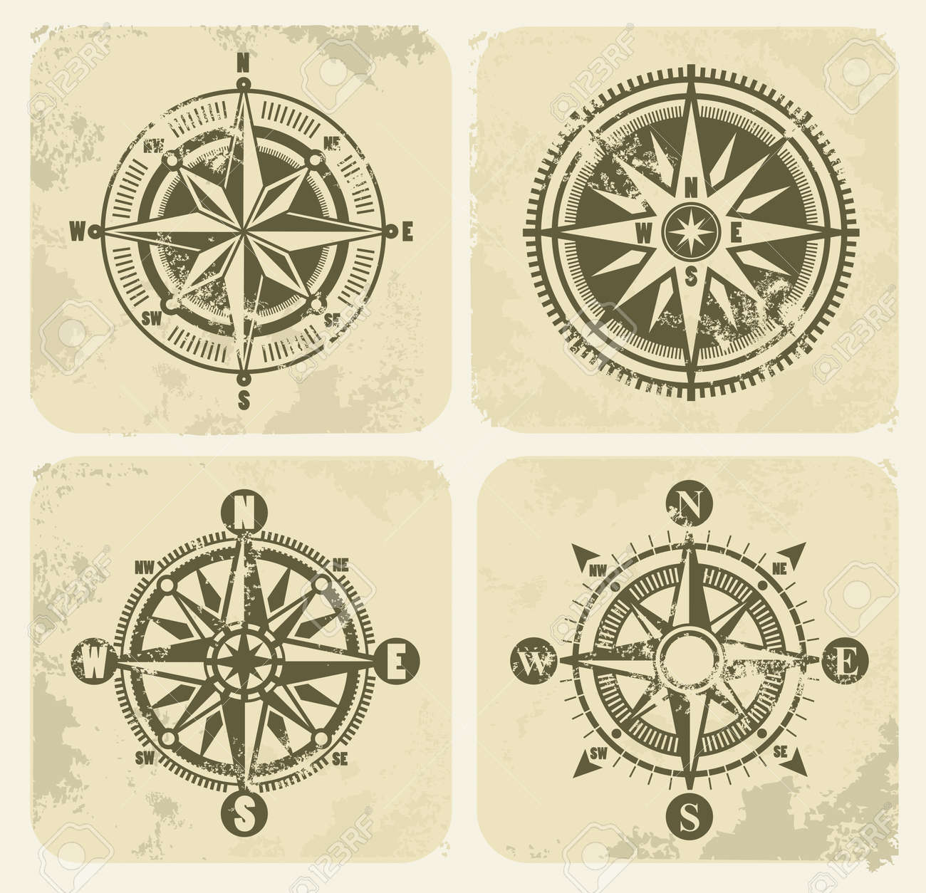 vintage compasses Stock Vector - 17524993