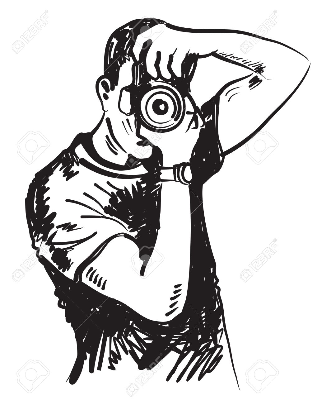vector black hand drawn photographer on white royalty free cliparts rh 123rf com photography vectors photography vector