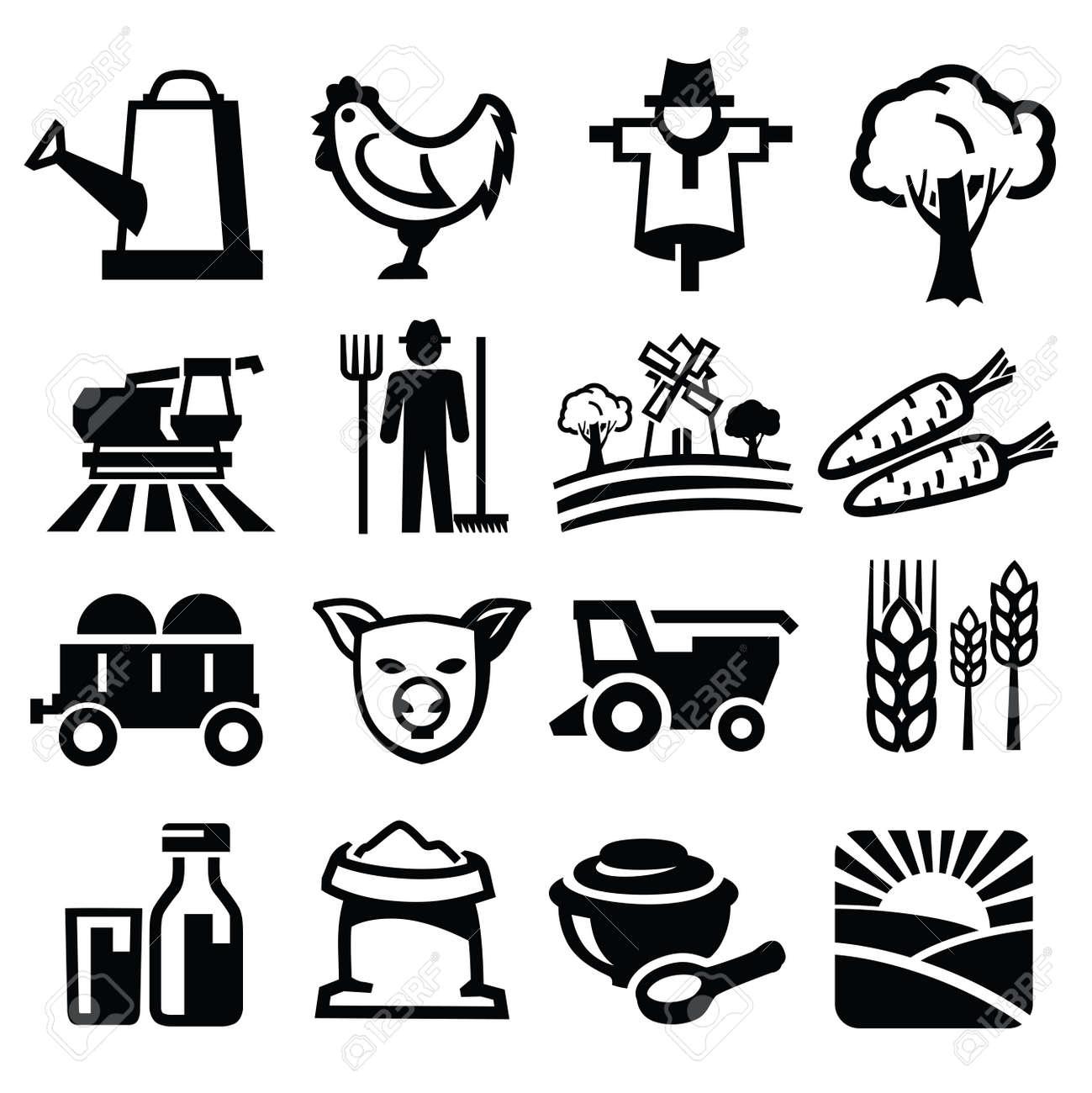 vector black farm icon set on white Stock Vector - 21745957