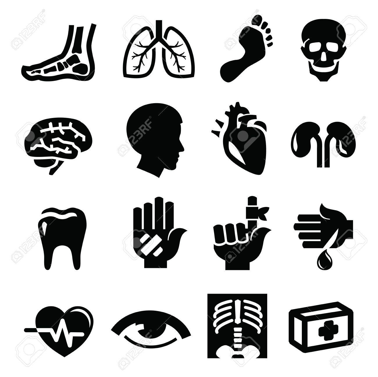 black medical icon set on white Stock Vector - 21787650