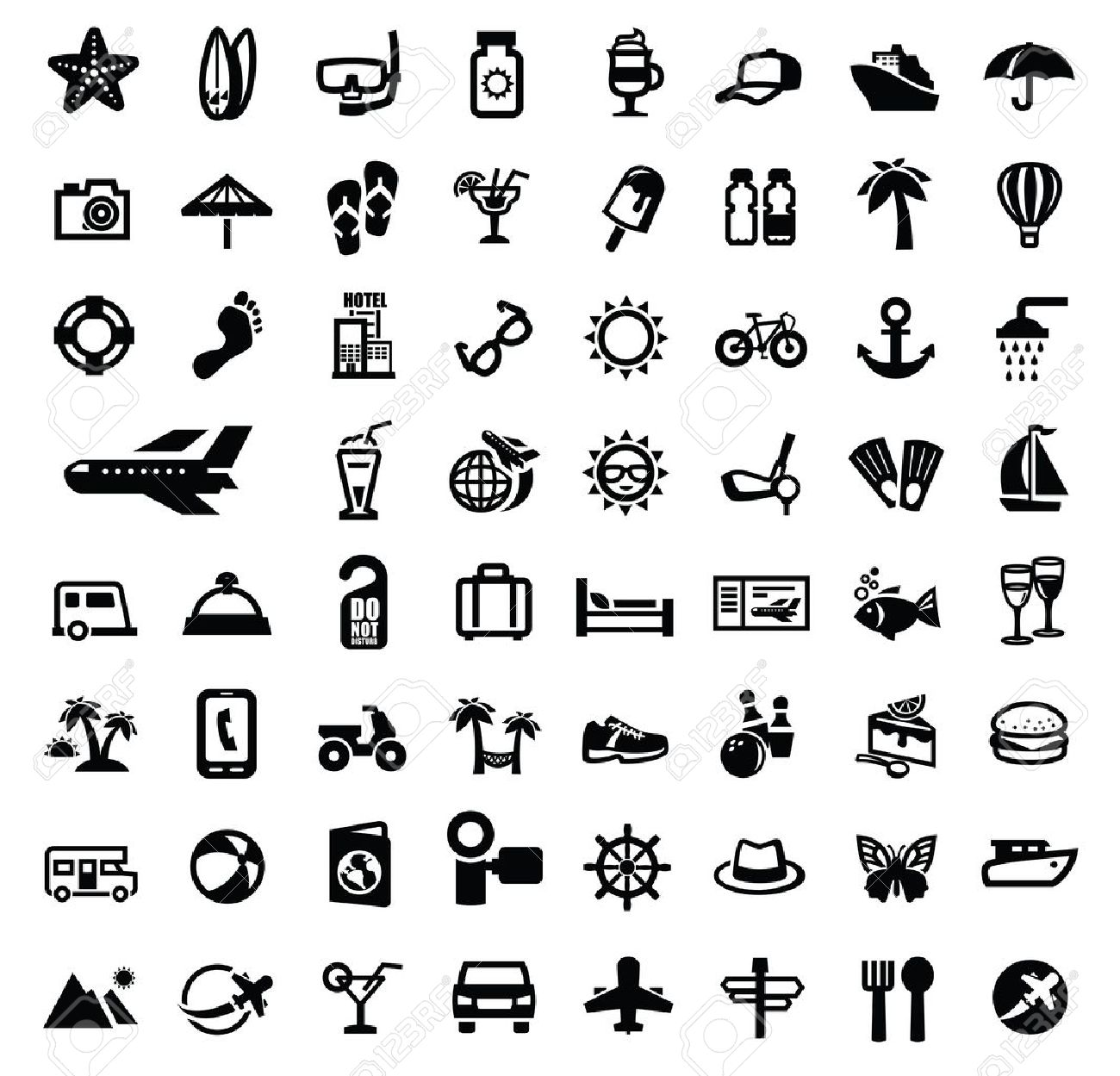 Black Travel Icon Set On White Royalty Free Cliparts Vectors And Stock Illustration Image 21998568