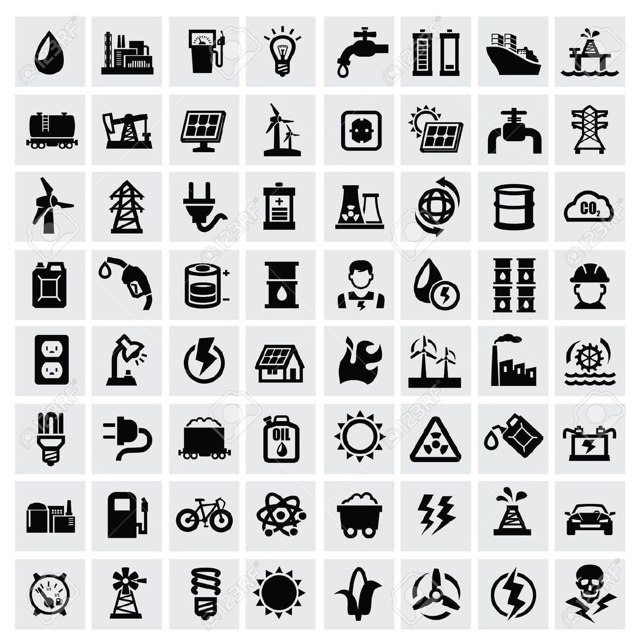 vector black energy icons set on gray Stock Vector - 22026143
