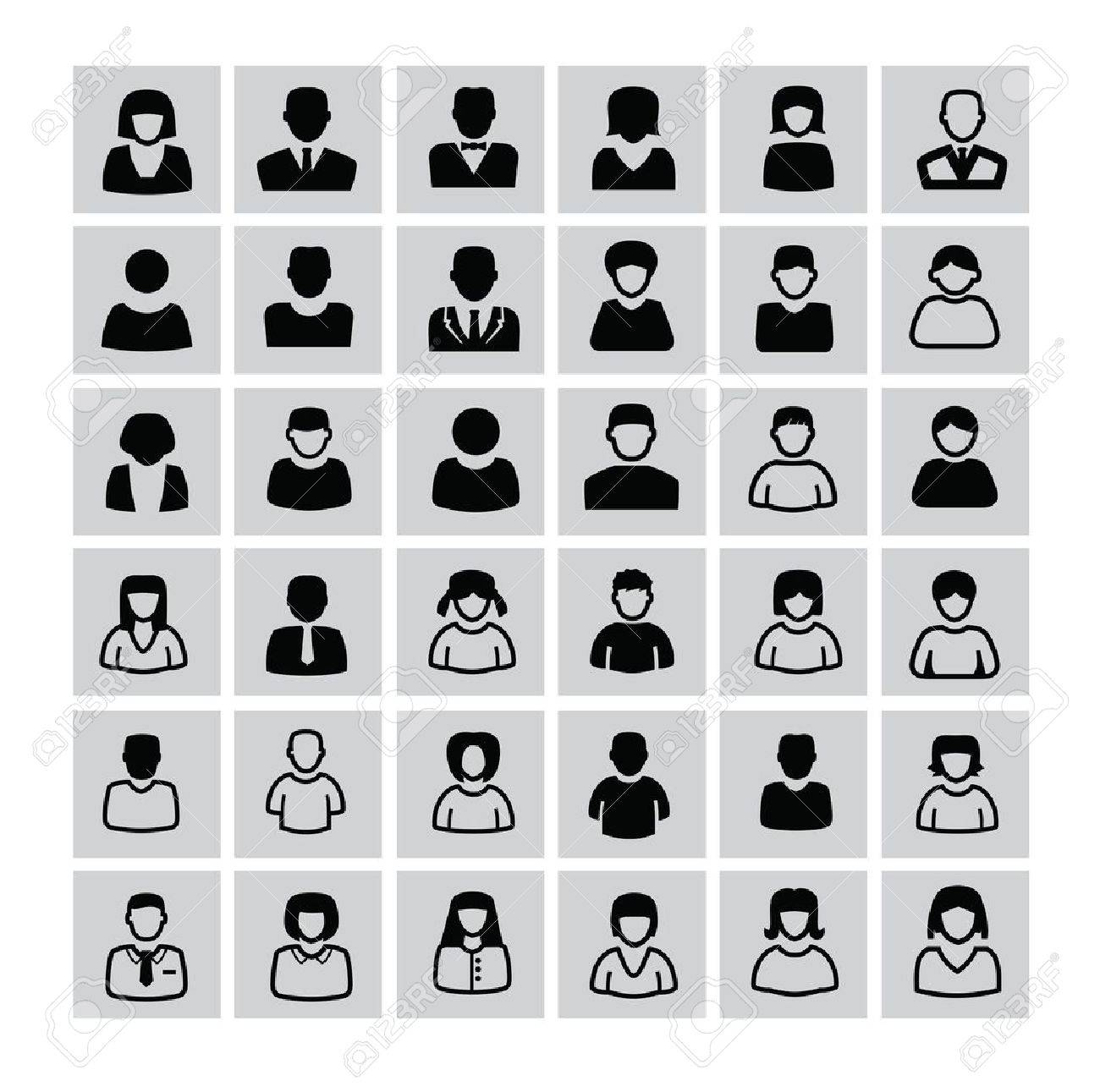 vector black people icons set on white Stock Vector - 22173766