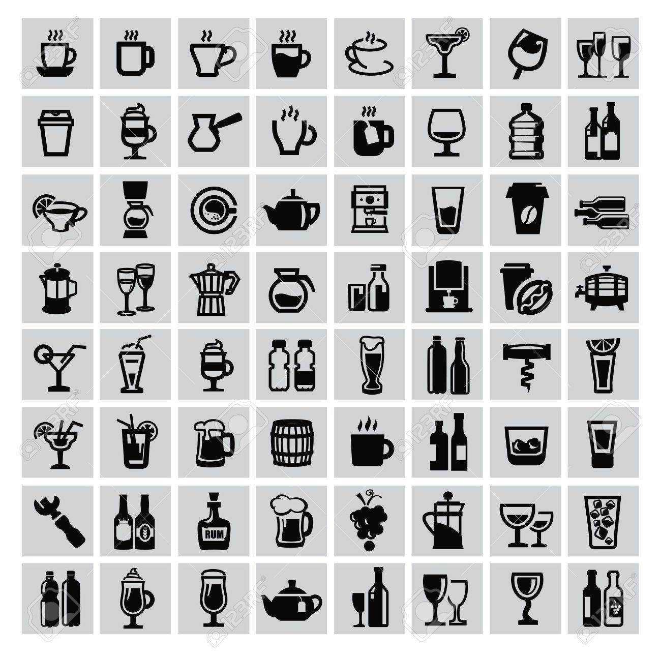 vector black beverages icon set on gray Stock Vector - 22173840