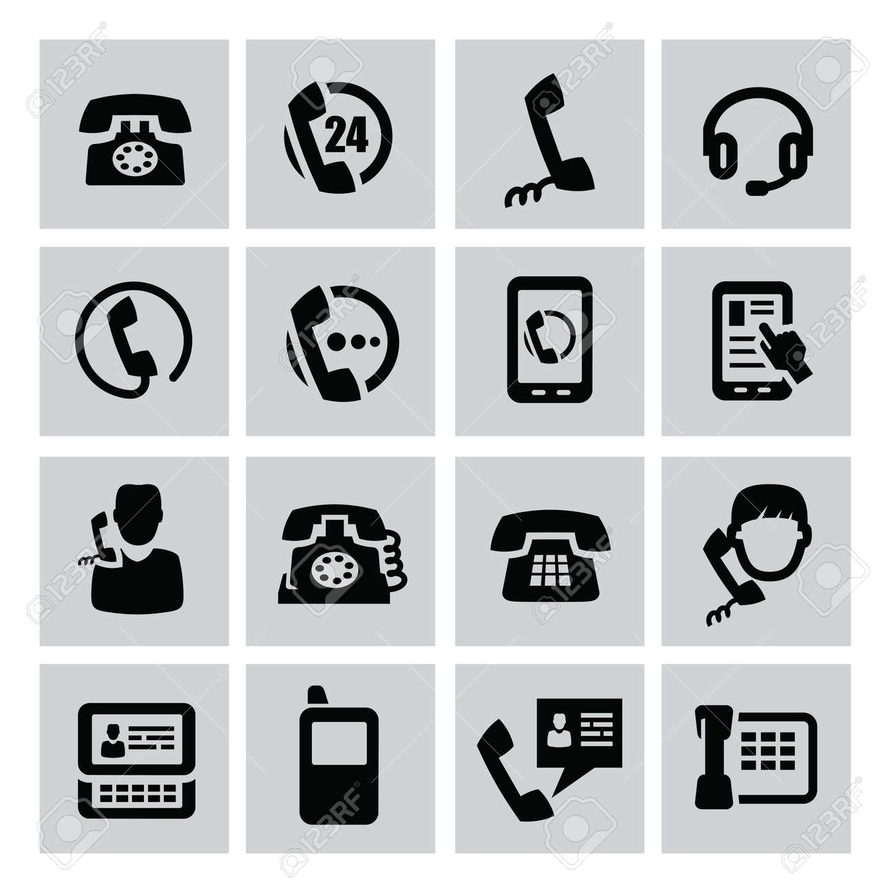 vector black phone icons set on gray Stock Vector - 22173878