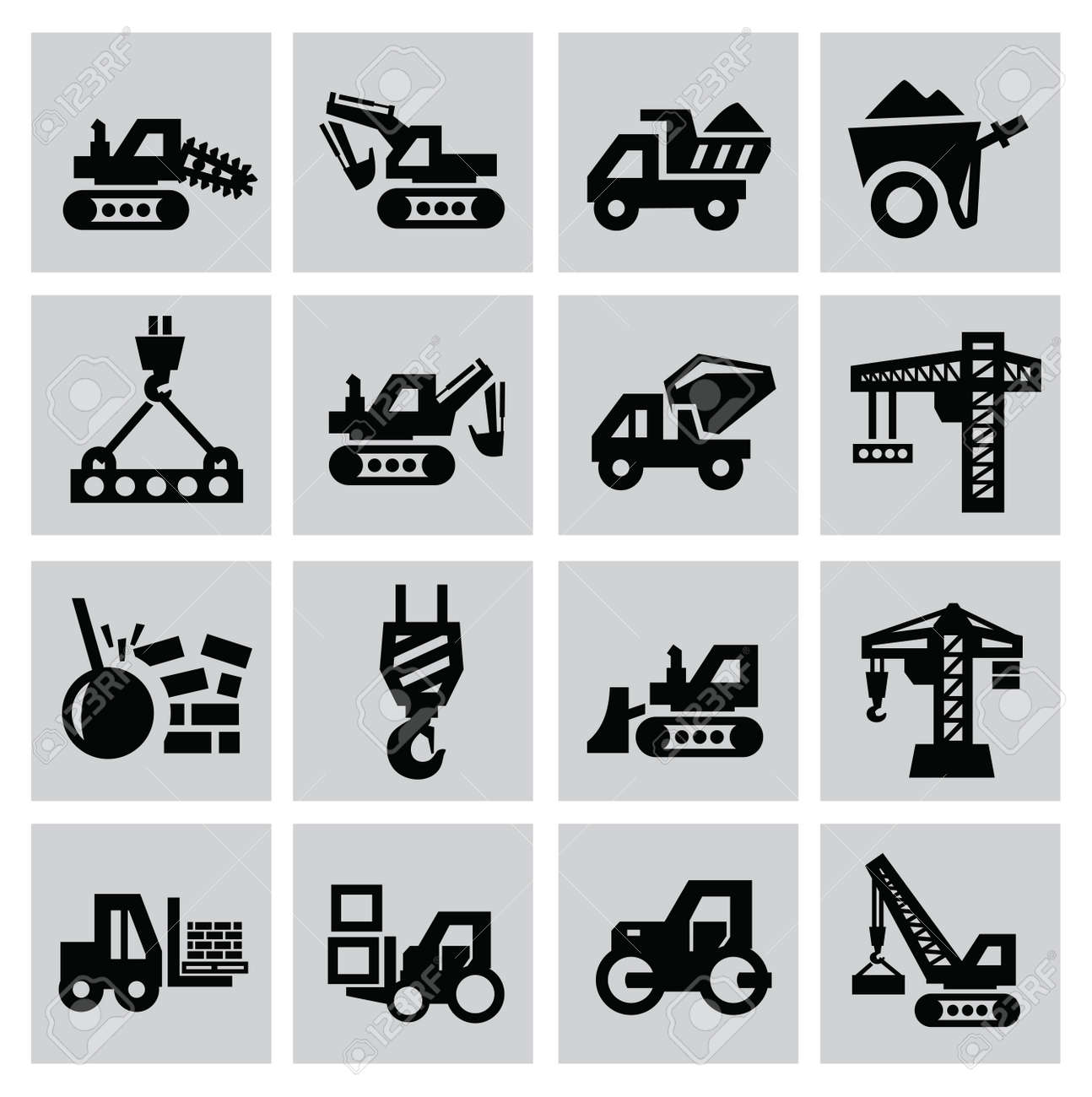 Black construction icon set on gray Stock Vector - 22444619