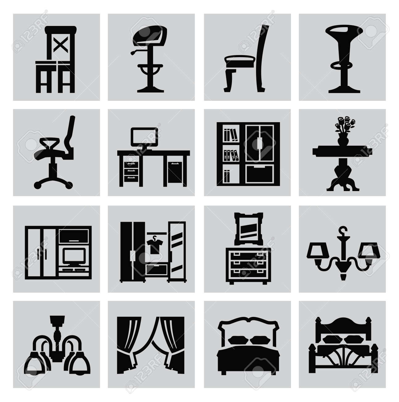 vector black house furniture icon set on gray Stock Vector - 22698117