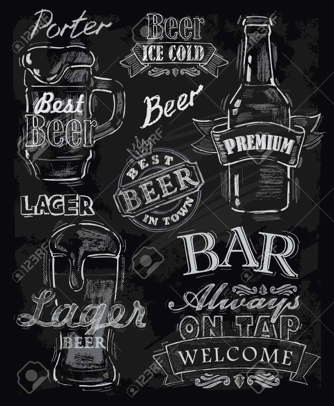 vector chalk beer on chalkboard background Stock Vector - 22866330