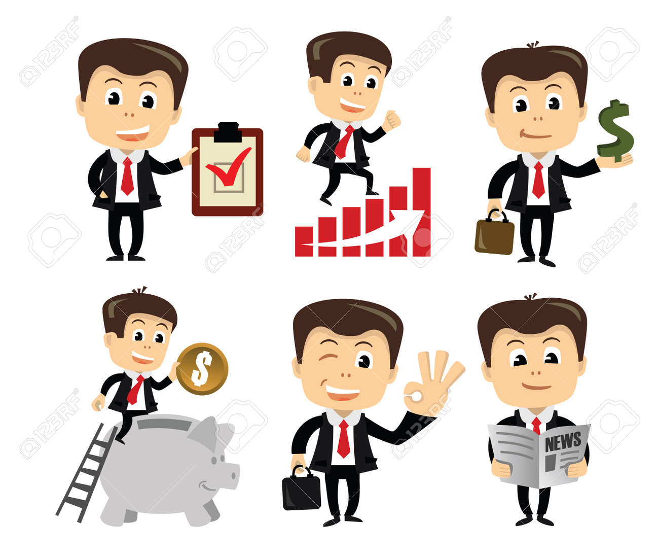 vector businessman in various poses Stock Photo - 26427645