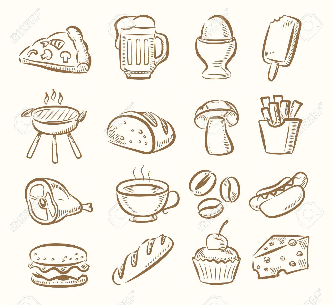 Vektor Hand Zeichnen Kuche Symbol Auf Beige Eingestellt Lizenzfrei