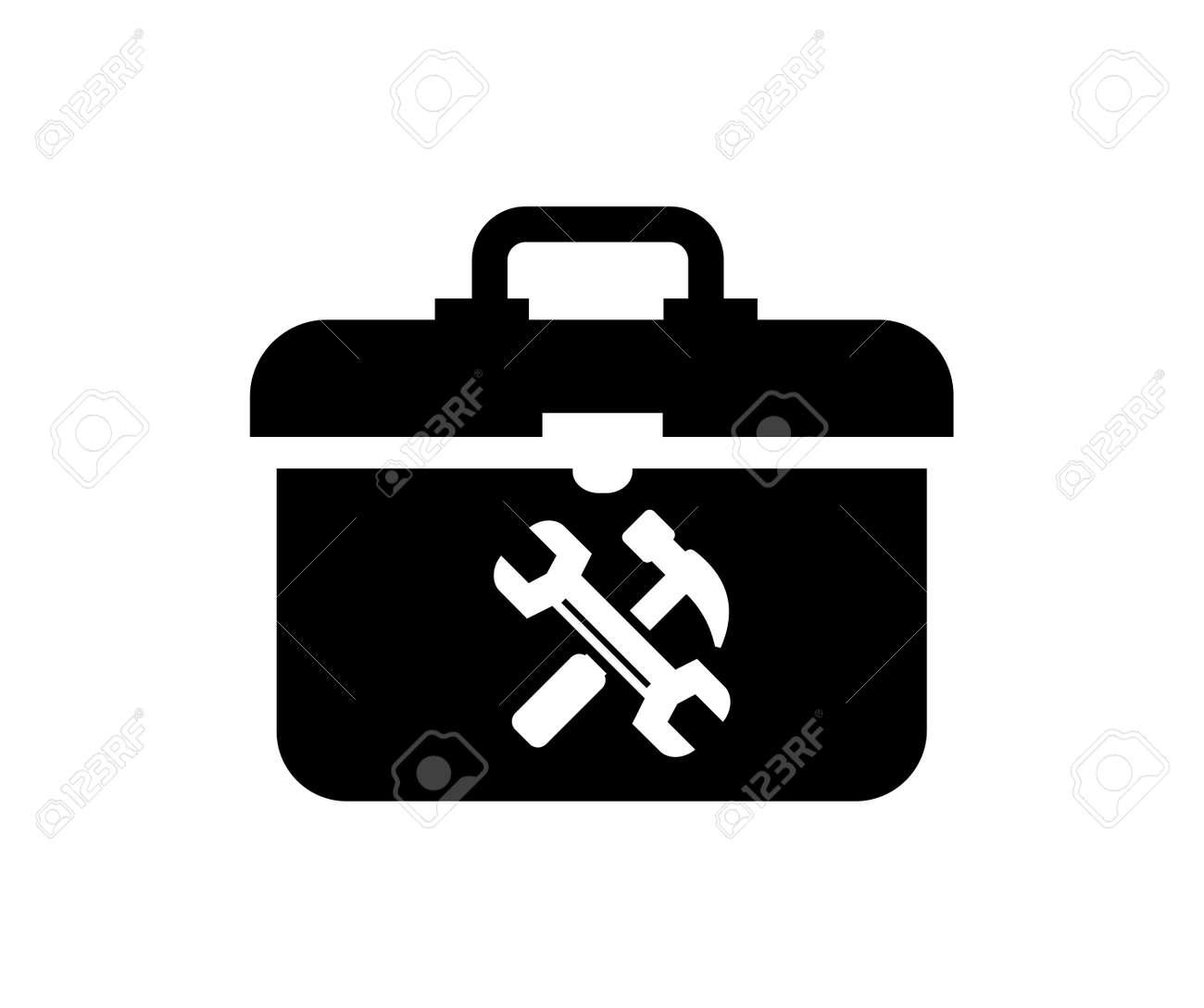 Vektor Schwarz Toolbox Symbol Auf Weißem Hintergrund Lizenzfrei ...