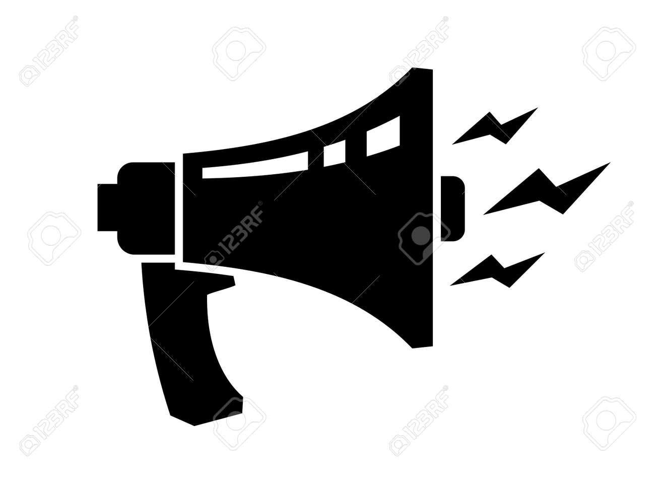 Vector Black Loudspeaker Icon On White Backgorund Royalty Free ...