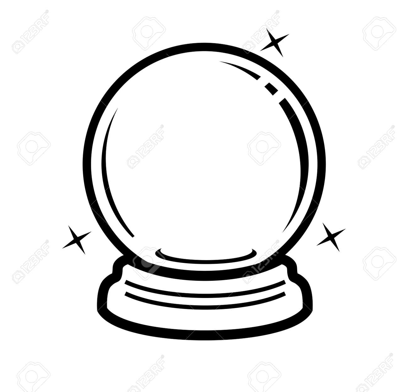vector black crystal ball icon on white royalty free cliparts rh 123rf com free clipart crystal ball free crystal ball images clip art