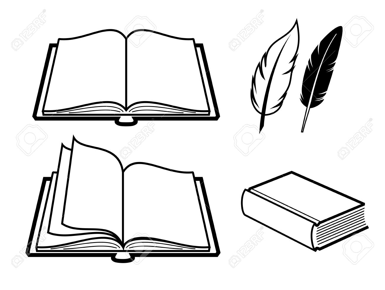 Vector Black Book Icon On White Background Royalty Free Cliparts
