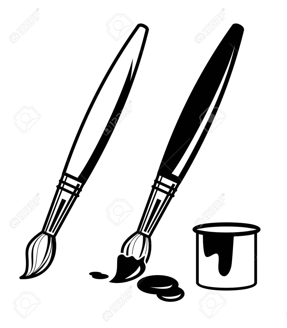 vector black paint brush icon on white background royalty free rh 123rf com paint brush vector free paint brush vector graphics