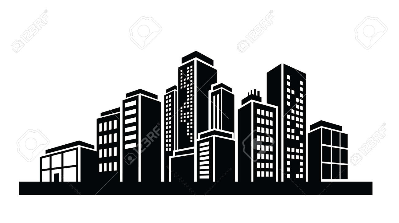 vector black illustration of building icon on white royalty free rh 123rf com vector building alabang vector building services