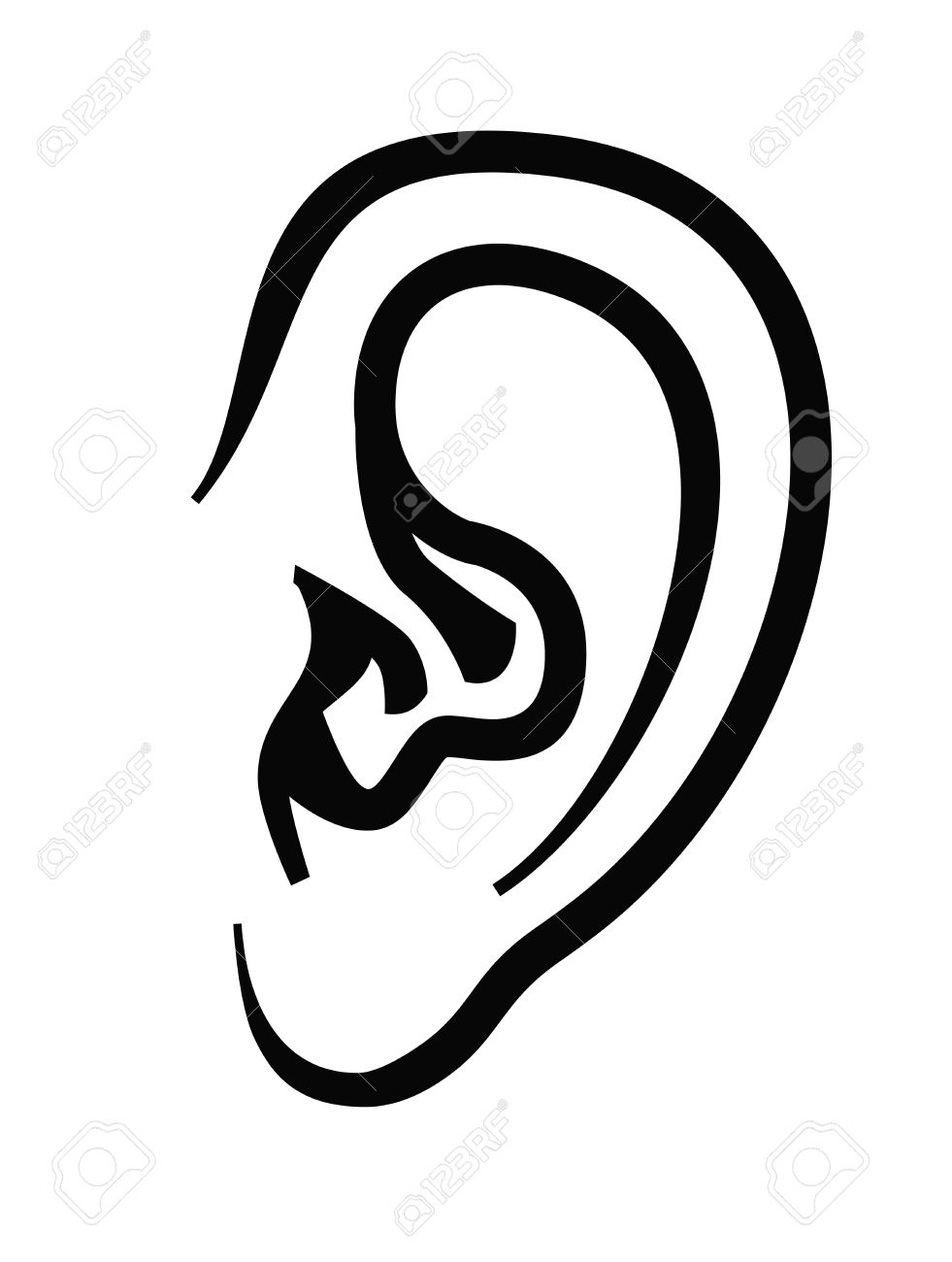 vector black ear icon on white background - 33530483