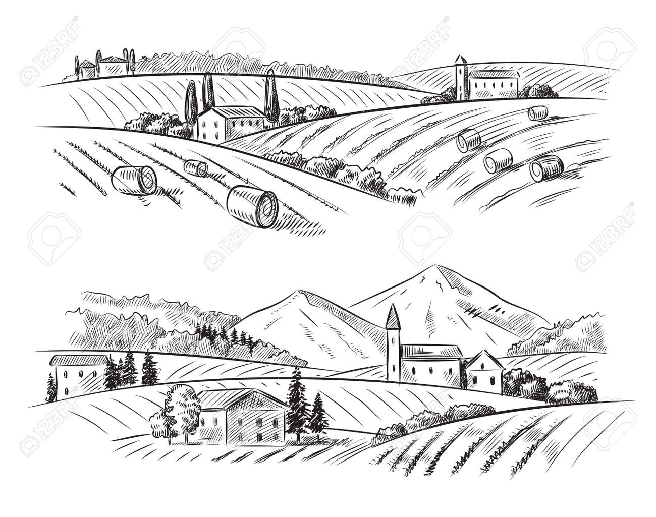 vector hand drawn village houses sketch and nature Stock Vector - 44307801