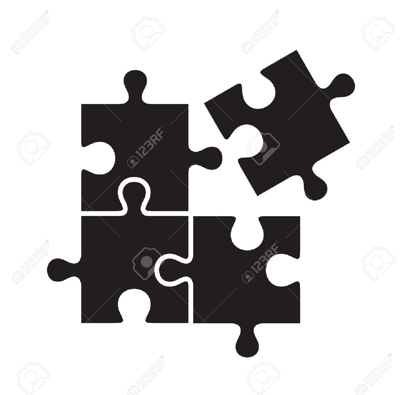 vector black puzzles icon on white background - 46968766