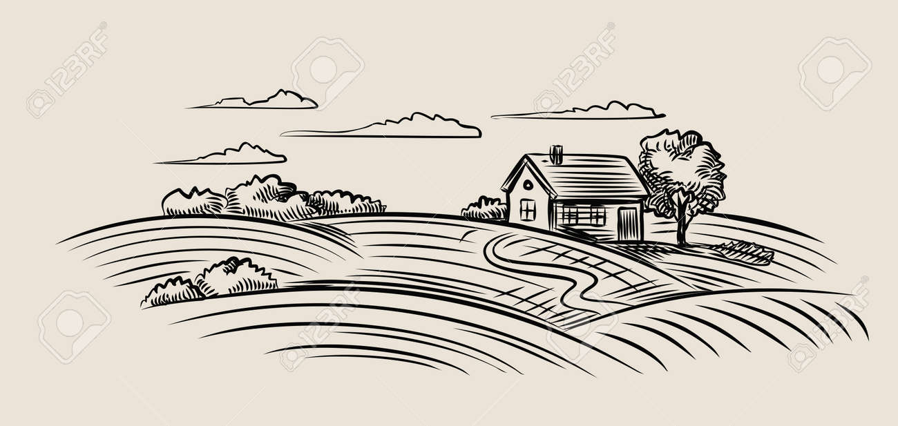 vector black farm and field on beige background - 48556581
