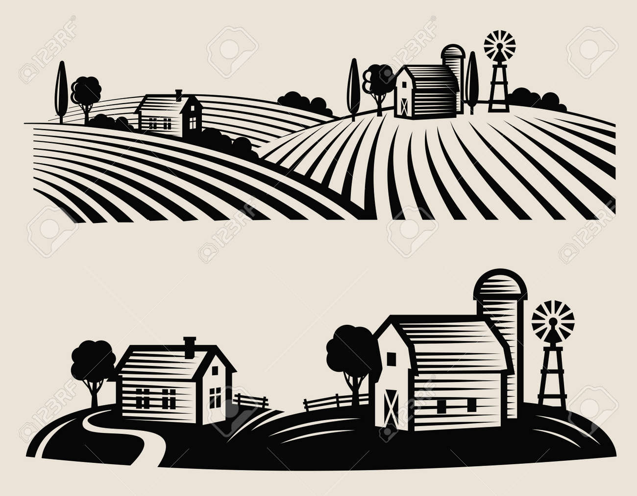 vector black farm and field on beige background - 48556586