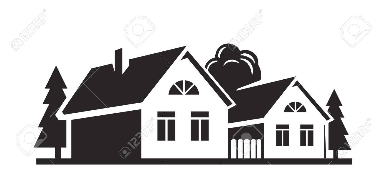 9f067f042282 Vector Black House Icon On White Background Royalty Free Cliparts ...