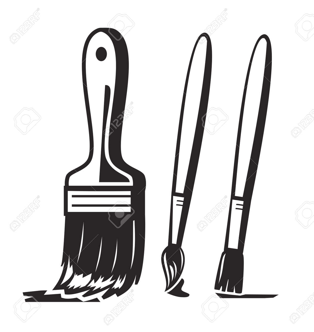 vector black paint brush icon on white background royalty free rh 123rf com vector paint brush stroke paint brush vector illustrator