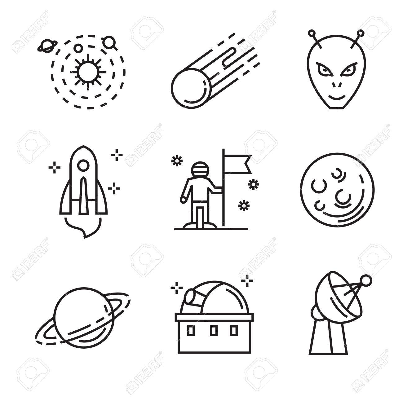 Vector Black Flat Astronomy Icons On White Royalty Free Cliparts