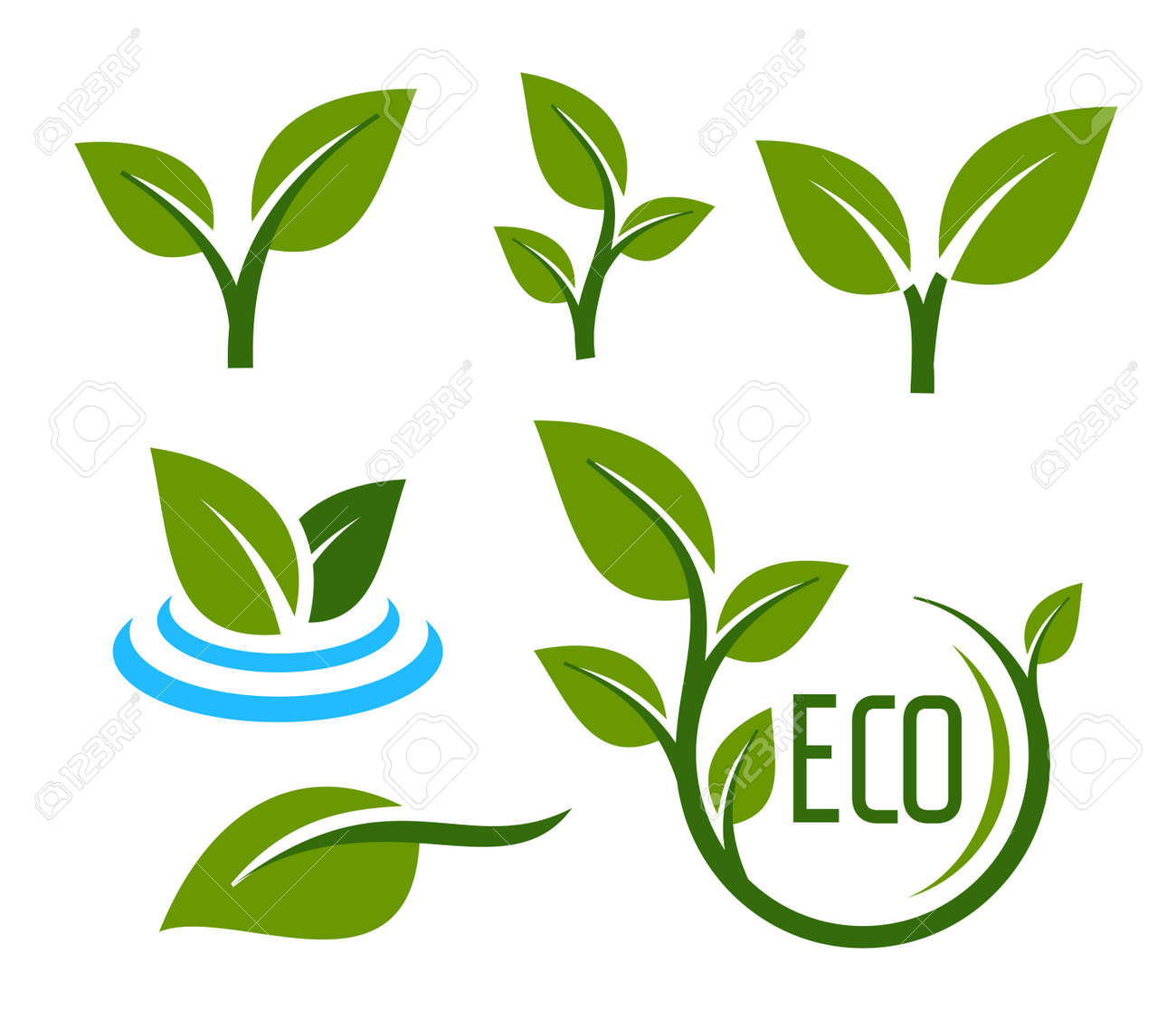 vector color leaves icon on white background - 52985249