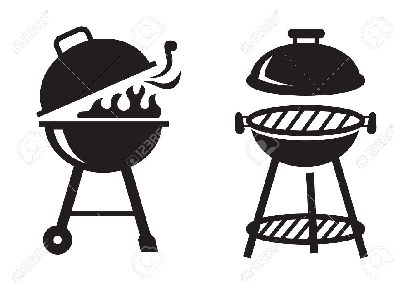 vector black bbq grill icons on white background royalty free rh 123rf com bbq vector logo bbq vector logo