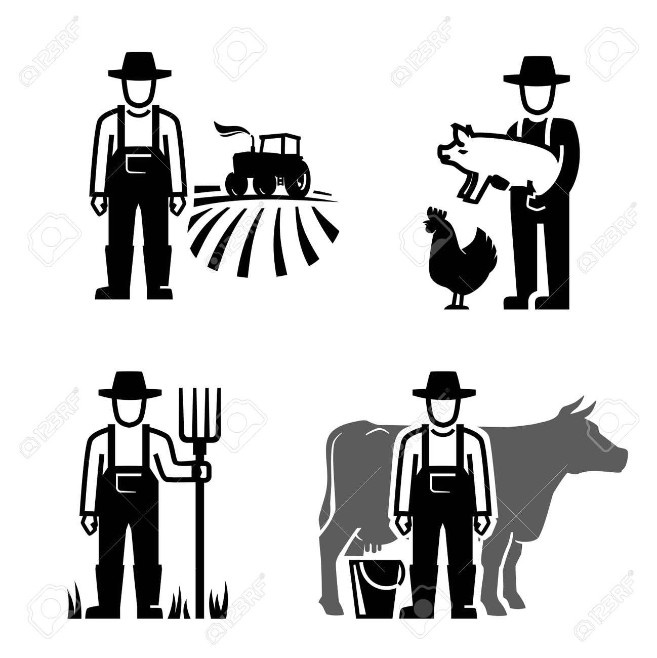 vector black farmer icon on white background - 54088353