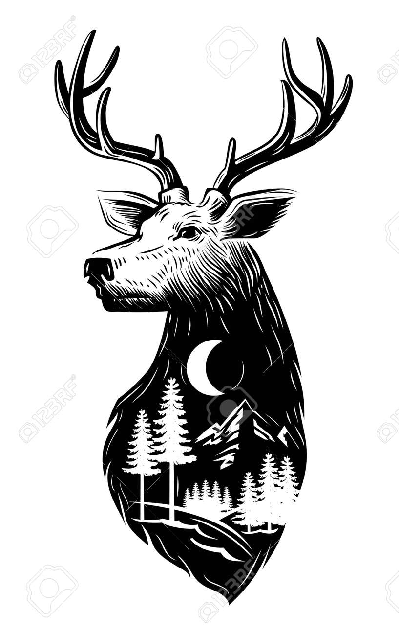 vector black Deer head icon on white background - 54088444