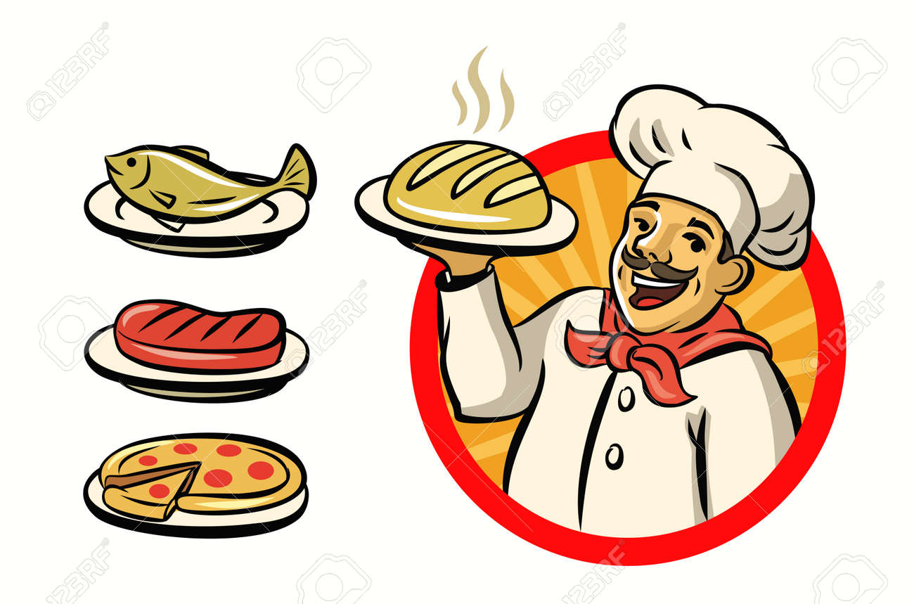 vector chef with hat and meal on white background - 54088488