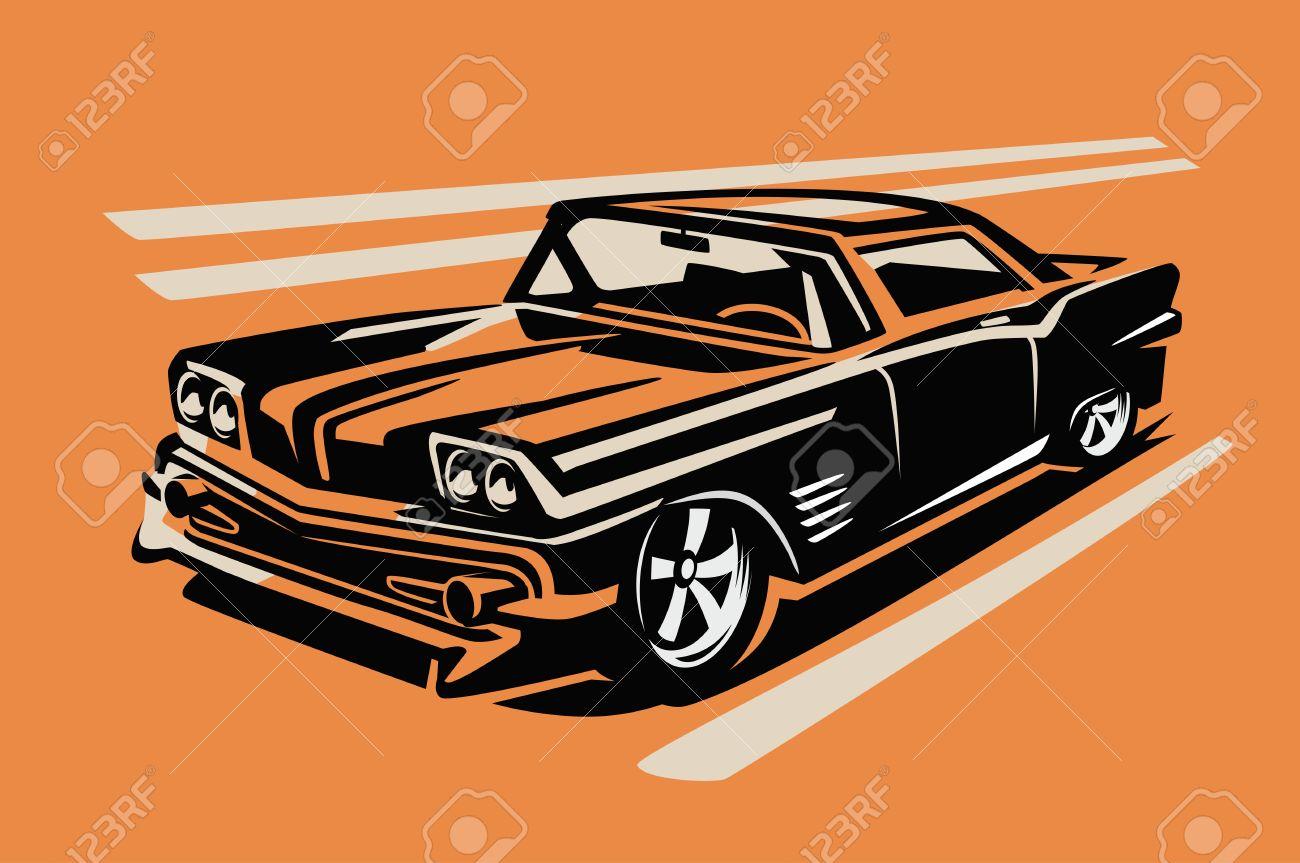 color vector illustration of retro car poster - 58619635