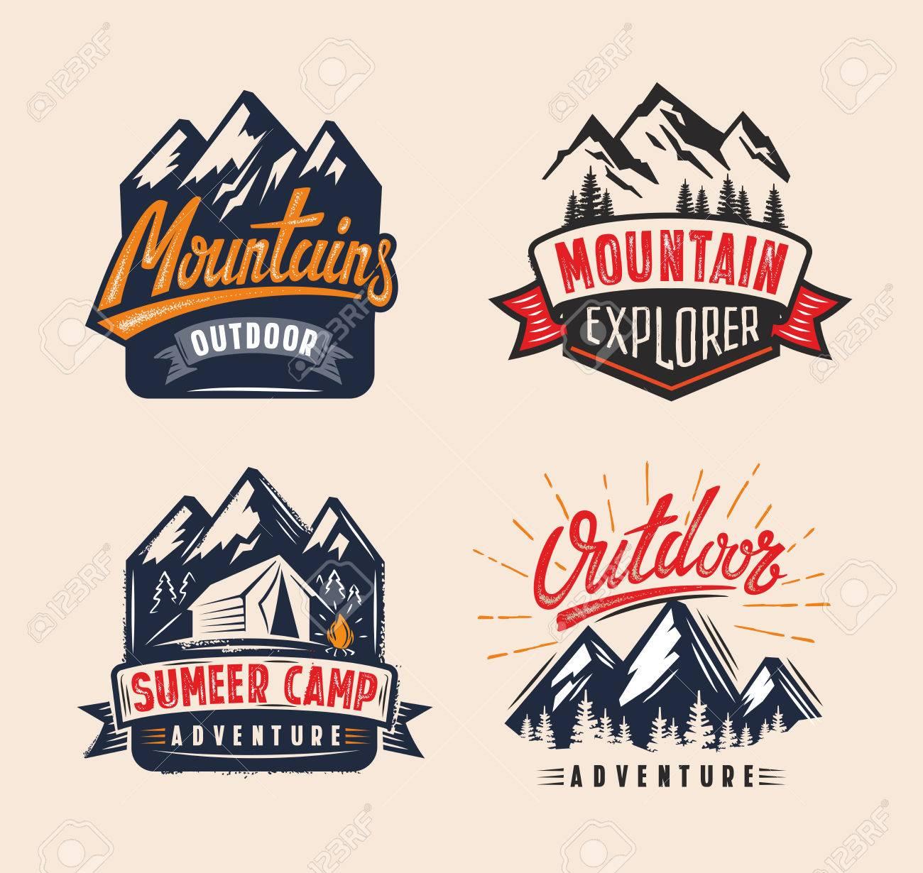 vector Adventure vintage on mountain badge - 62282872