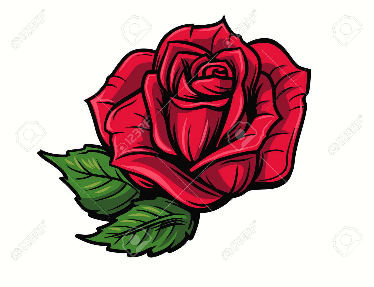Red Rose Cartoon Style On White Background Royalty Free Cliparts Vectors And Stock Illustration Image 64172720