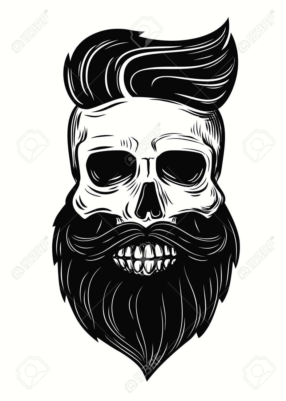 Bearded skull illustration on white background - 64172721