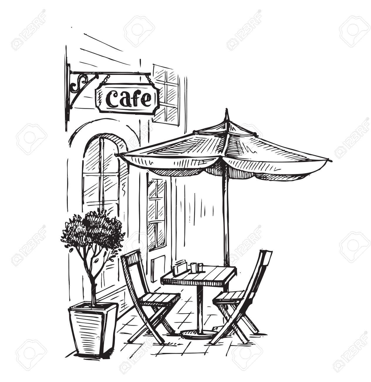 古い町のベクトル イラスト通りカフェのイラスト素材ベクタ Image