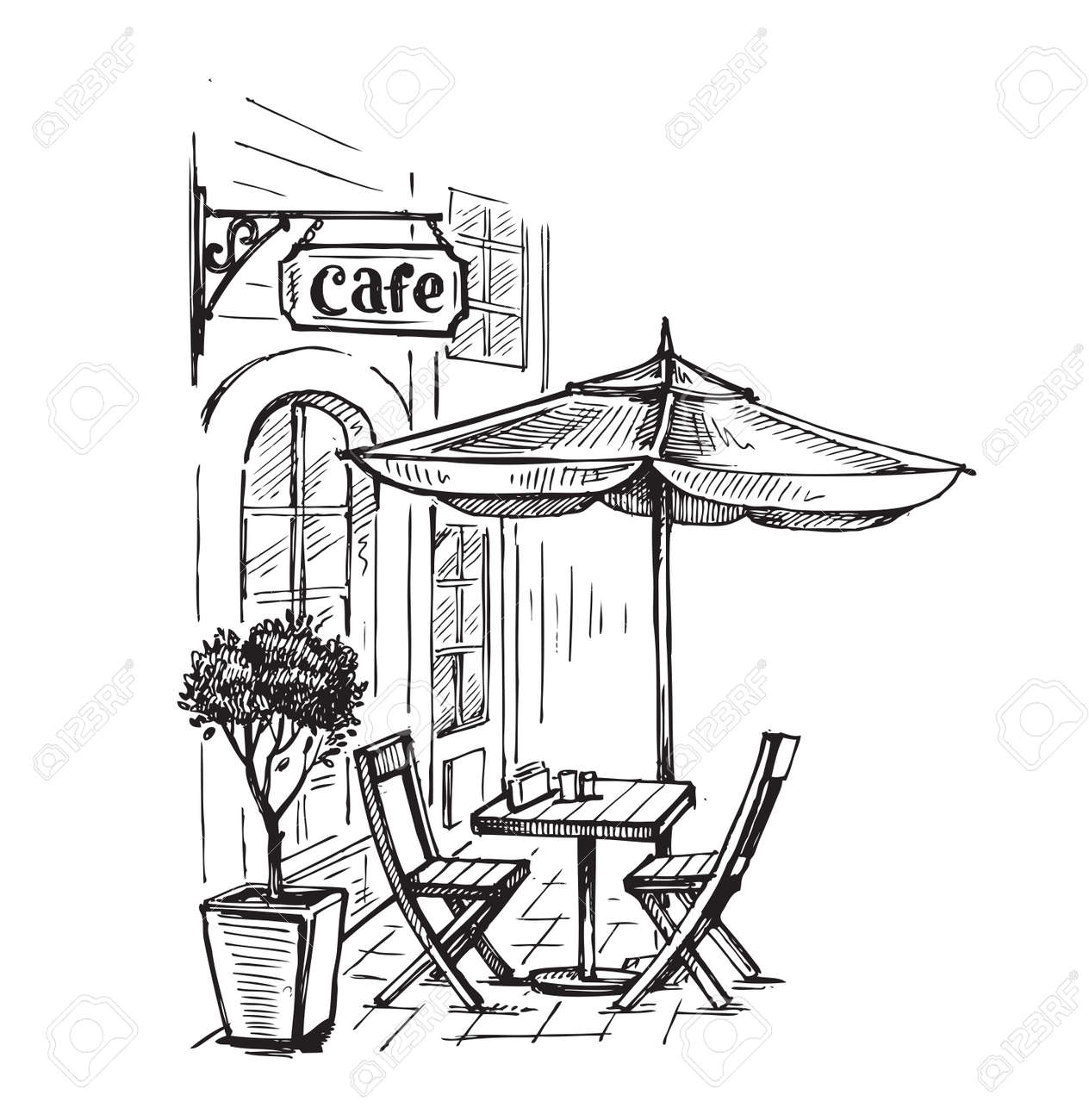 Street cafe in old town vector illustration - 66867898