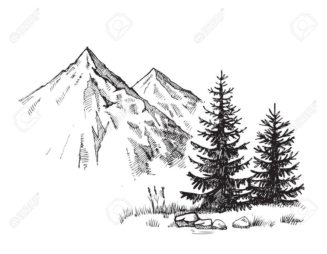 Hand drawn vector illustration of mountain landscape - 67218938