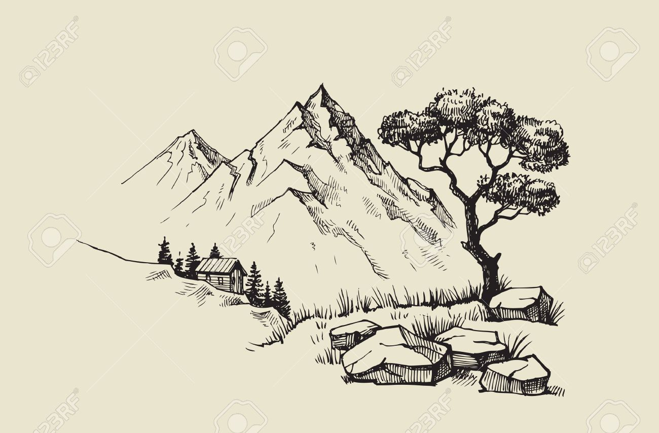 Hand drawn vector illustration of mountain landscape - 67162300