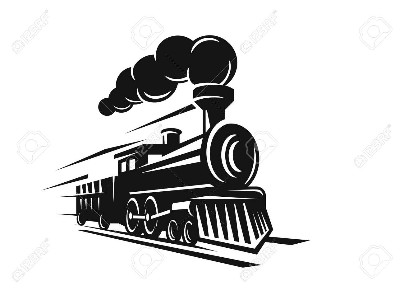 vector retro train logo on white background - 69006154