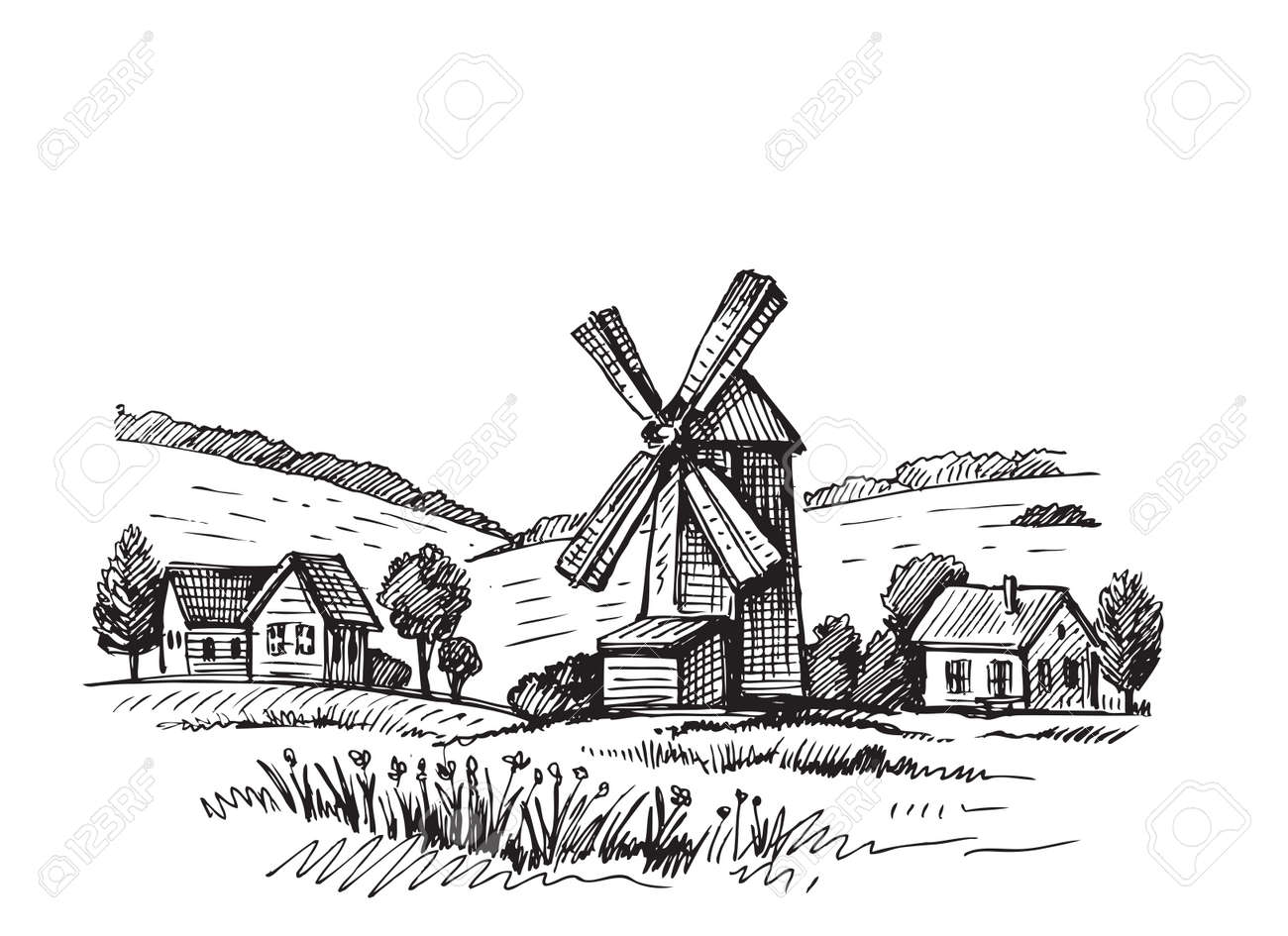 Hand drawn doodle illustration of a mill - 69249882